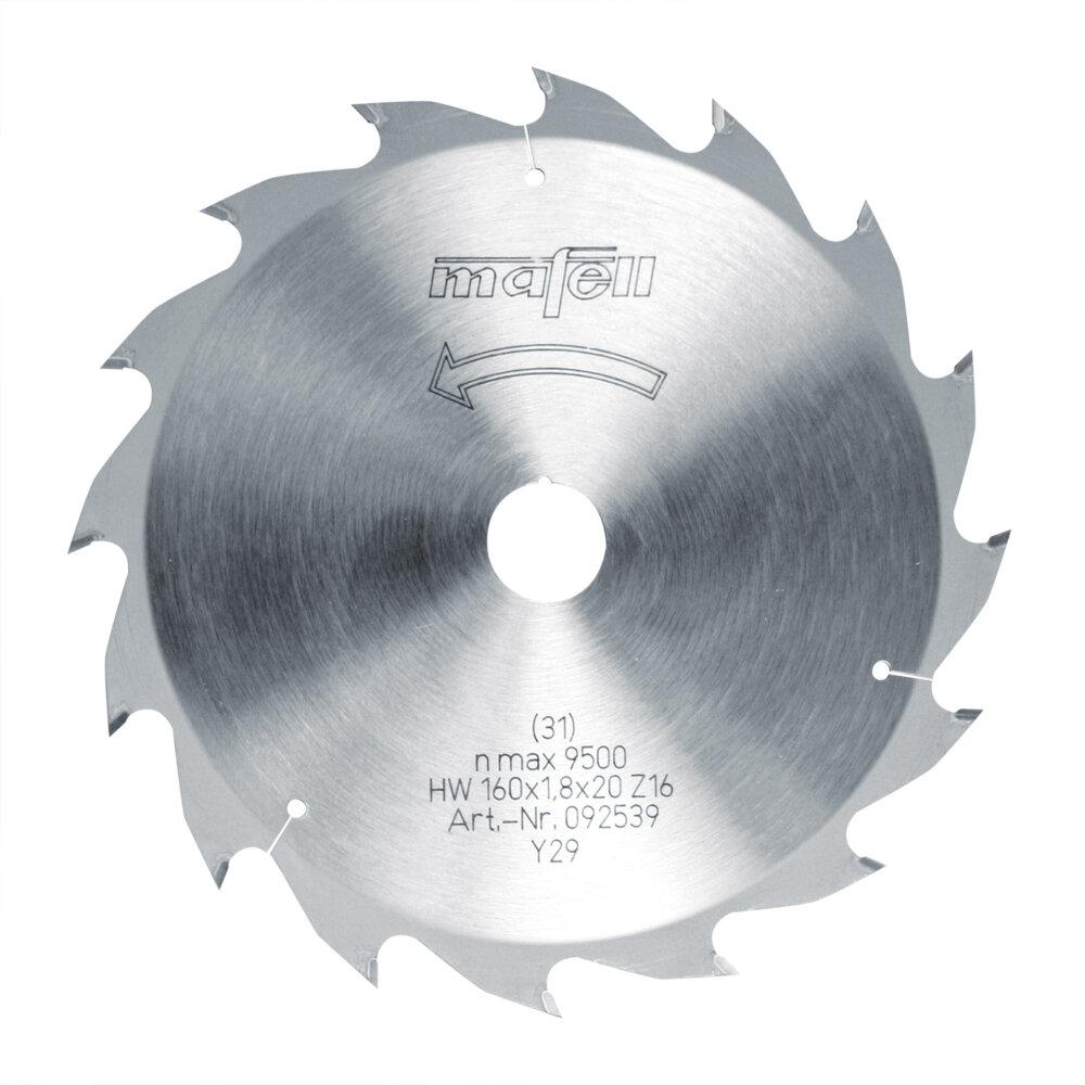 Mafell Sägeblatt-HM 160 x 1,2/1,8 x 20 mm, Z 16, WZ, für Längsschnitte in Holz 092539