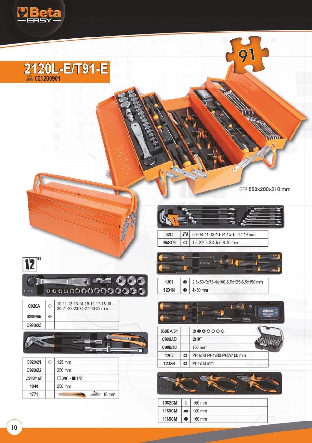 BETA EASY WERKZEUGKASTEN mit 5 Fächer und 91-TLG Werkzeugsortiment