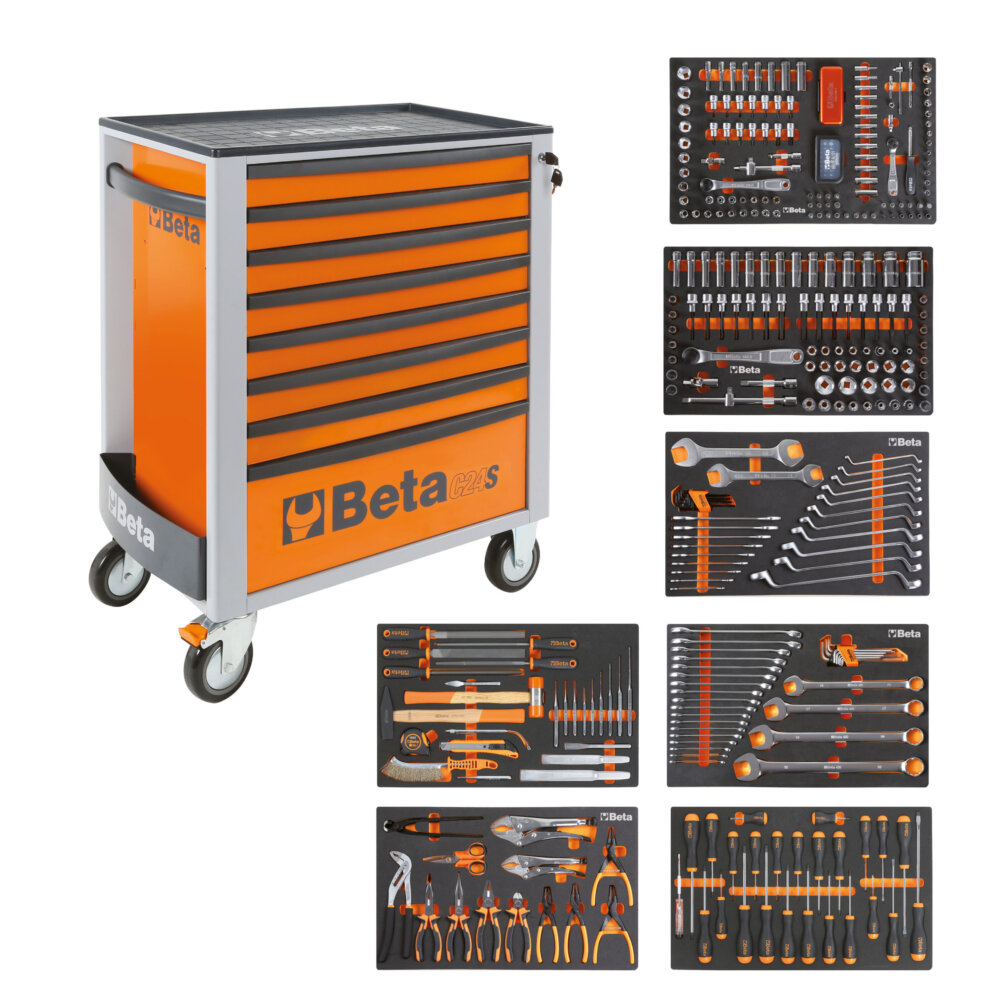 BETA EASY WERKZEUGWAGEN C24S8 ORANGE + 384TLG SORTIMENT