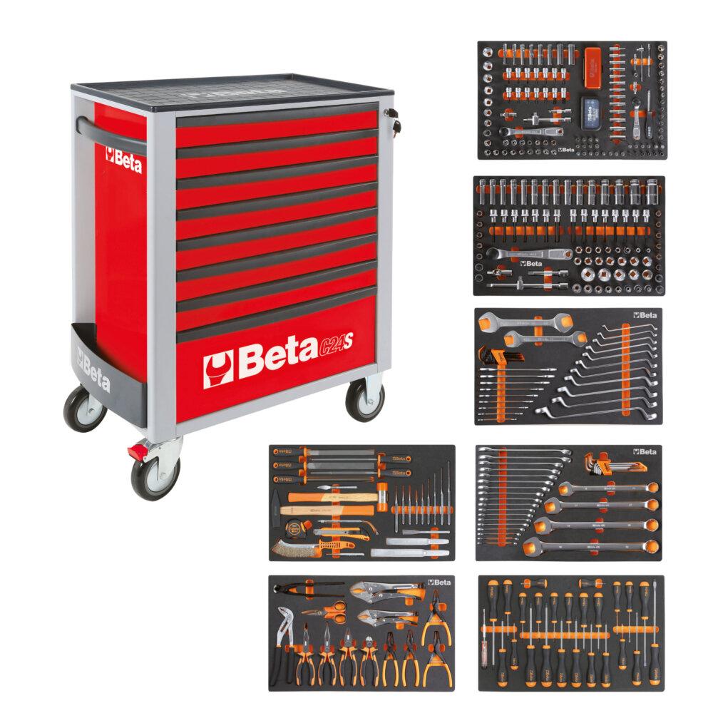 BETA EASY WERKZEUGWAGEN C24S8 ROT + 384TLG SORTIMENT