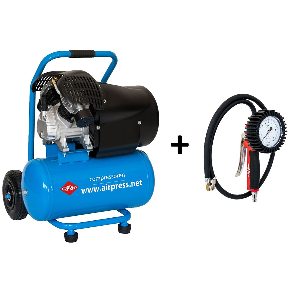AIRPRESS Kompressor HL 425-24 230V Sackkarre mit geeichtem Reifenfüller Set