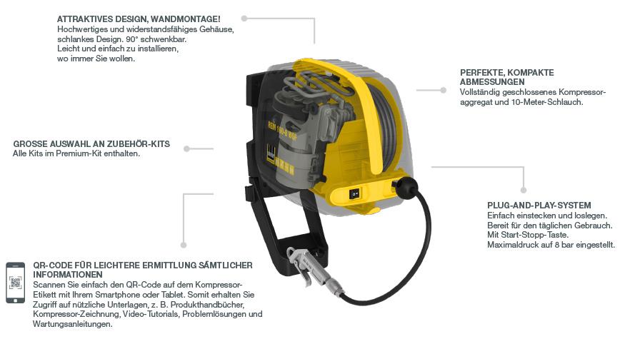 Schneider Kompressor und Schlauchaufroller in Einem der REM 160-8 WOF