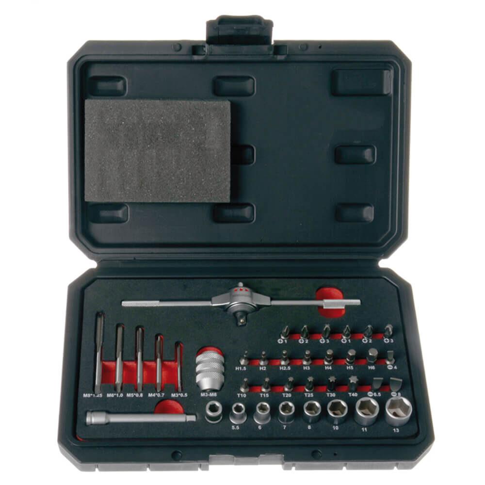 PROJAHN Gewinde-Bit-Set, 38tlg. M3-M8 mit T-Griff-Knarre und Stecknuessen