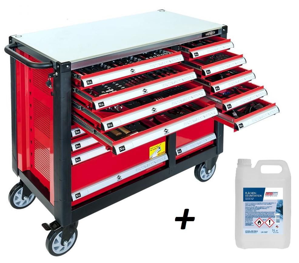 Airpress Professioneller Werkzeugwagen 447 teilig – Jetzt mit 5 Liter Kanister Desinfektionsmittel kostenlos!