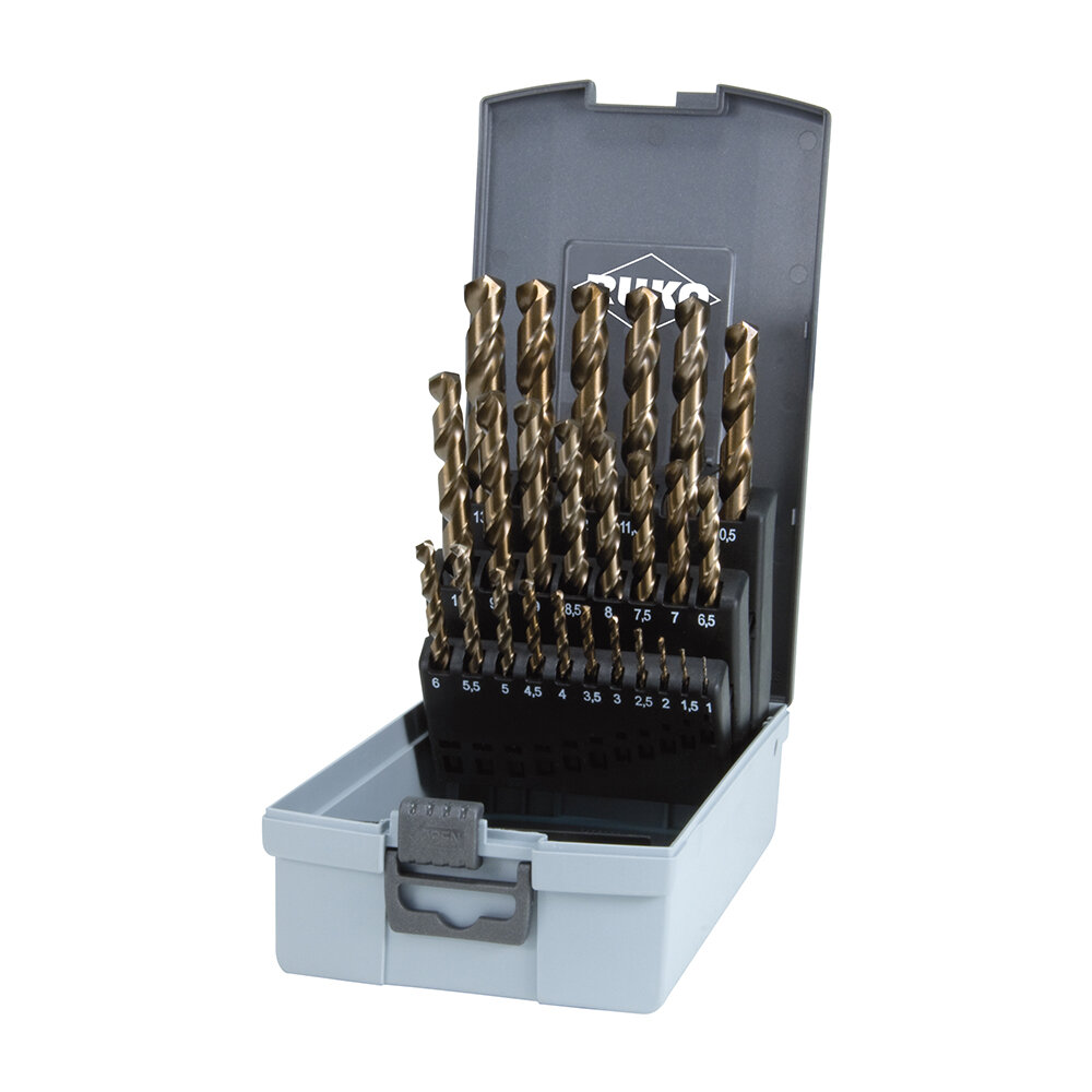 Spiralbohrer-Satz DIN 338 Typ VA, HSSE-Co 5 in ABS-Kunststoffkassette – 25 tlg.