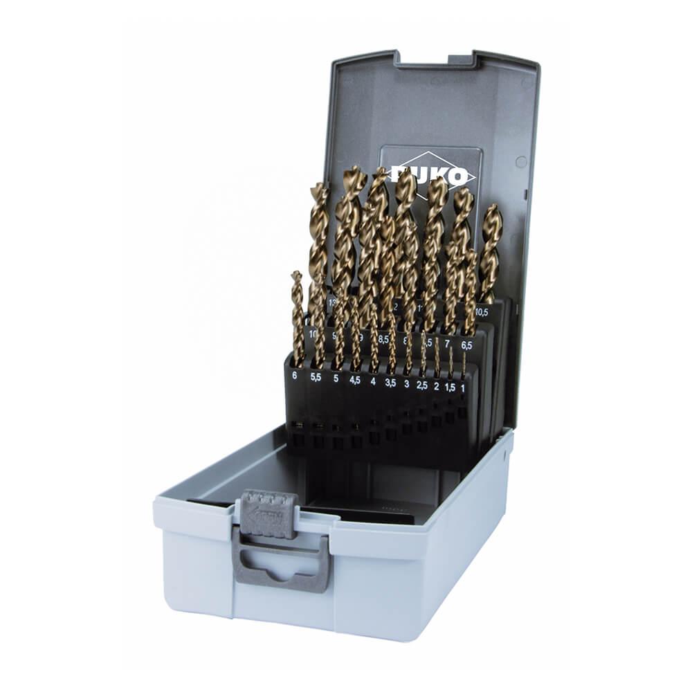 Spiralbohrer-Satz DIN 338 Typ TURBO, HSS-G in ABS-Kunststoffkassette – 25 tlg.