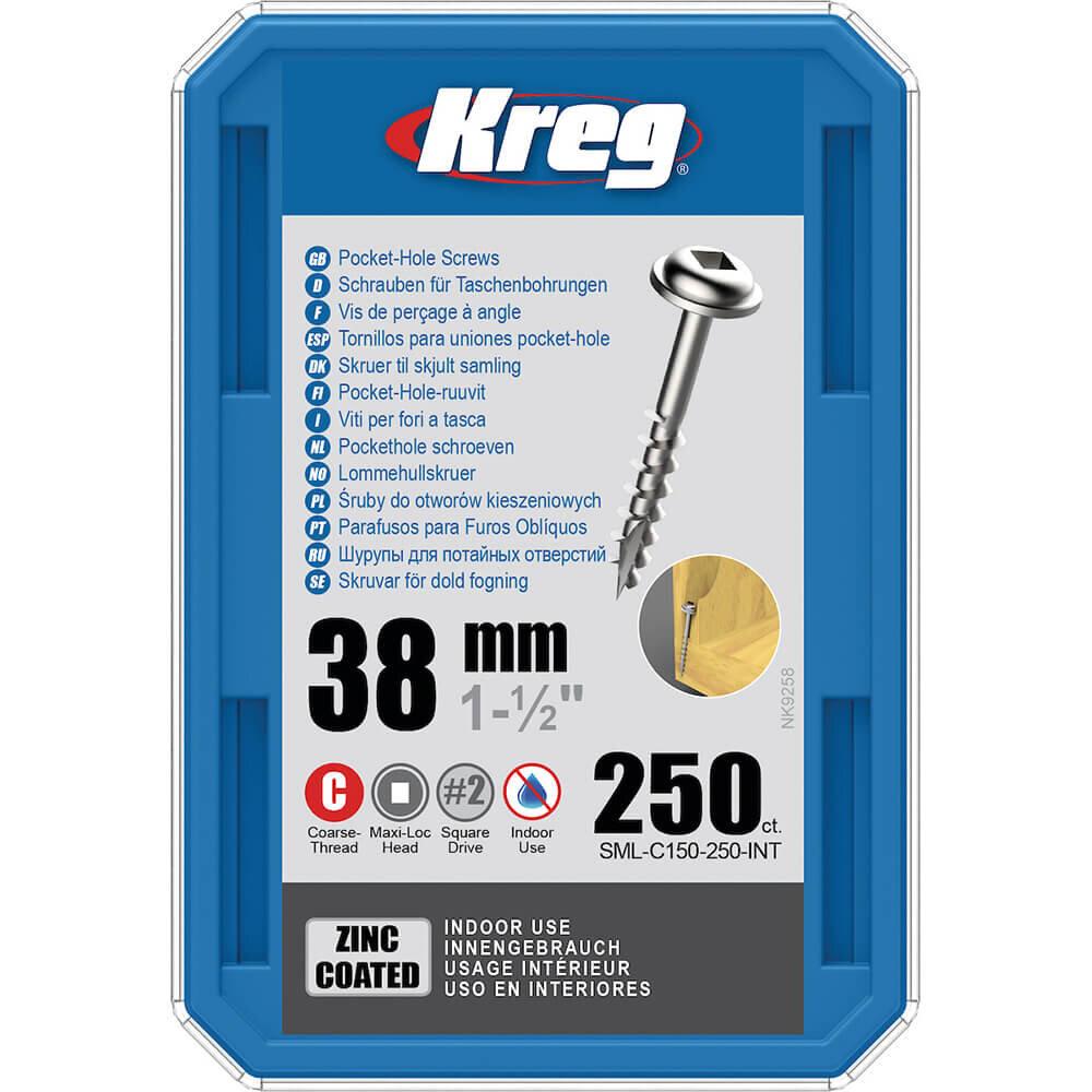 KREG® Verzinkte Taschenlochschrauben – 38mm Grobgewinde, Maxi-Loc, 250 Stück