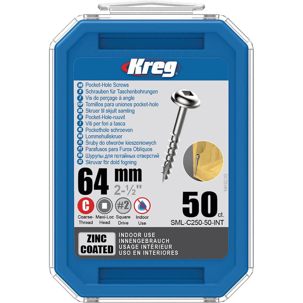 KREG® Verzinkte Taschenlochschrauben – 64mm Grobgewinde, Maxi-Loc, 50 Stück