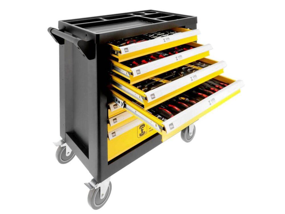 Werkzeugwagen mit 7 Schubladen 258 teilig