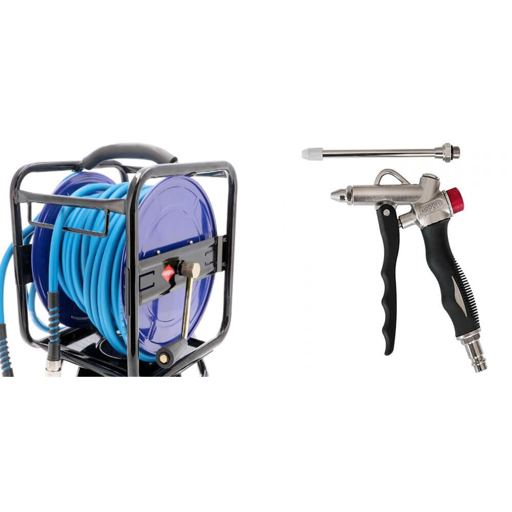 Kombi Angebot Luftschlauchaufroller und Blaspistole 1000x1000 - Druckluftschlauchaufroller 30m + 2 Wege Ausblaspistole